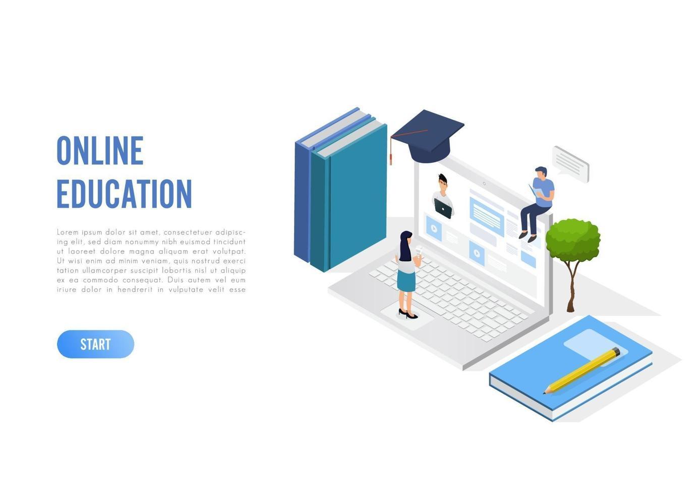 Banner de concepto de educación en línea con personajes. Puede utilizar para banner web, infografías, imágenes de héroes. ilustración vectorial isométrica plana aislada sobre fondo blanco. vector