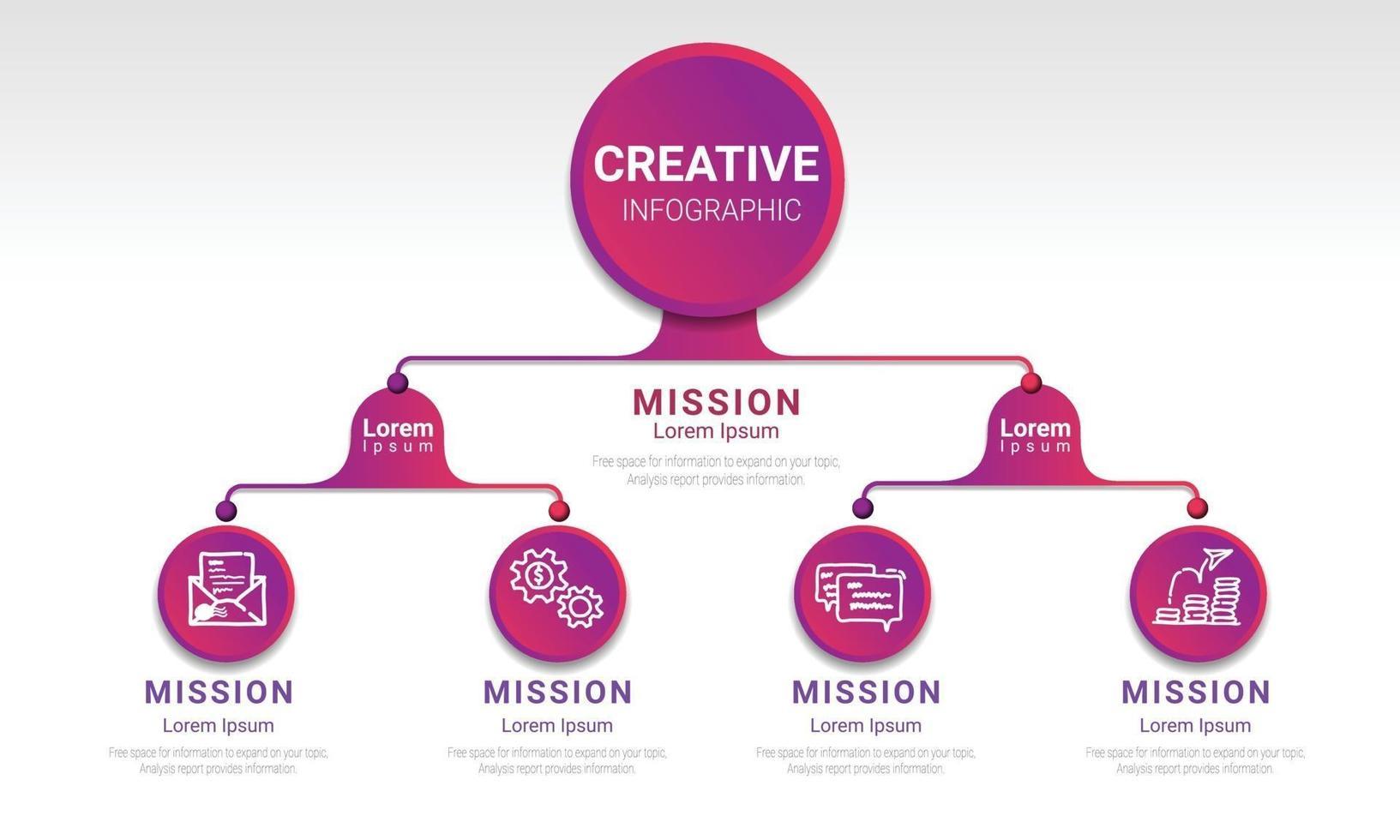 Plantilla de diagrama de flujo infográfico con 2 niveles, 4 pasos se pueden usar como diagrama, gráfico, tabla, diseño de flujo de trabajo, presentación comercial vector