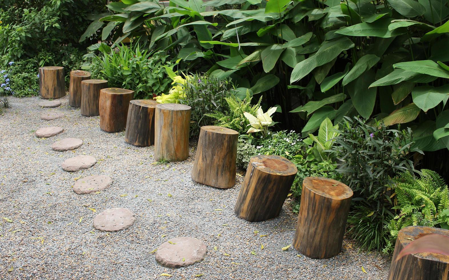 Valla de tocón de madera en el jardín foto