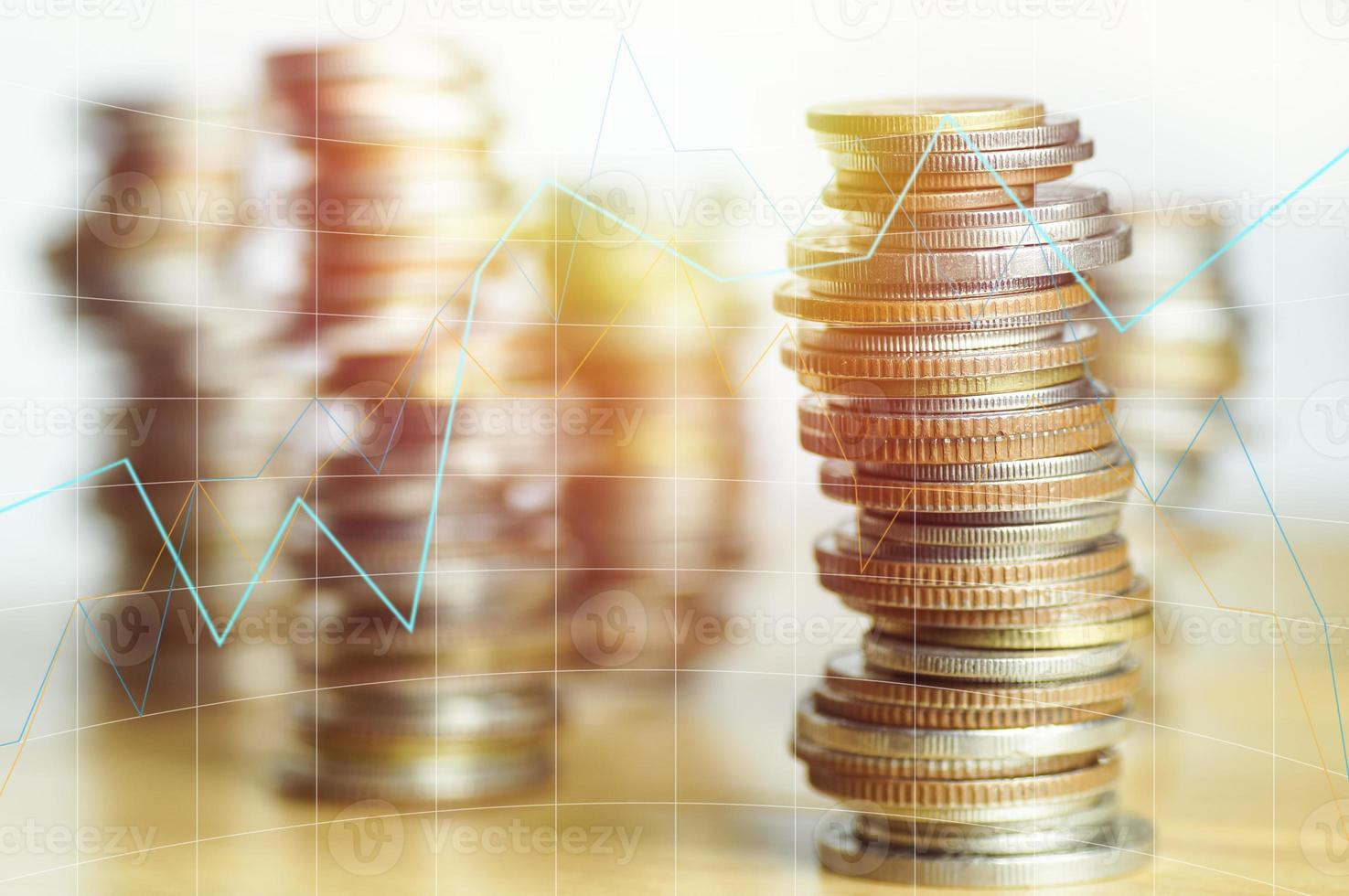 Stacked of coin money photo