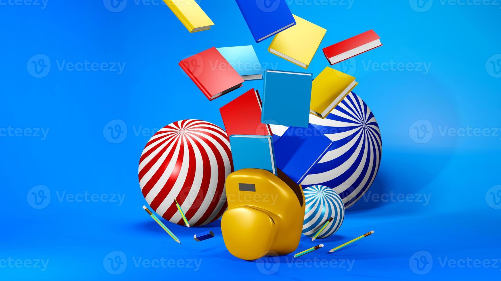 Representación 3D de útiles escolares foto