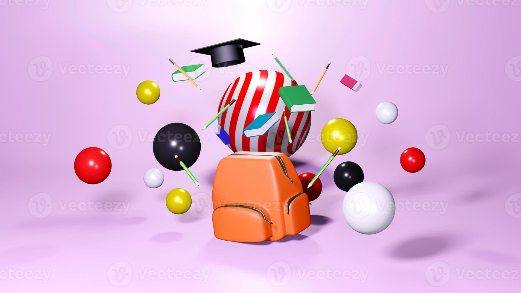 3D rendering of school supplies photo