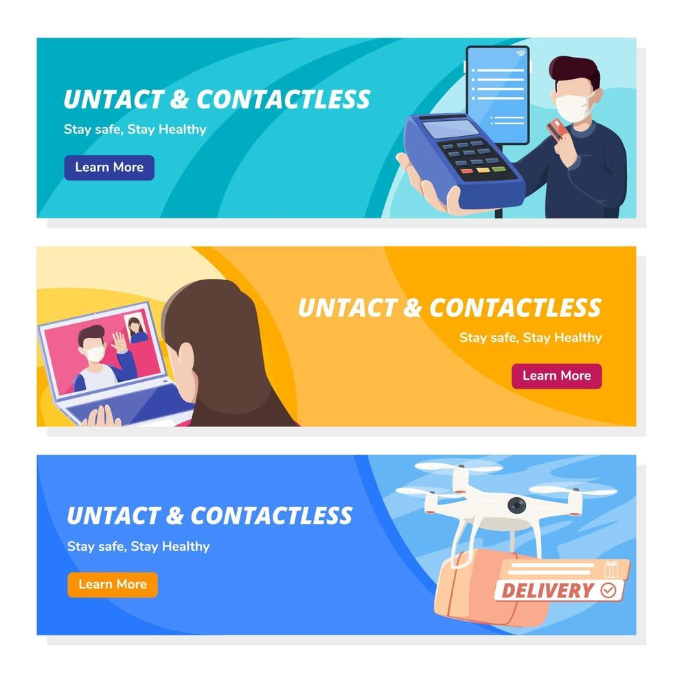 Untact Contactless Technology Banners vector