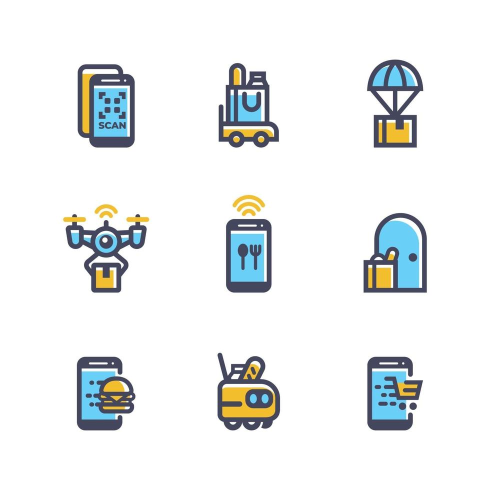 Set of Contactless Online Delivery Icon vector