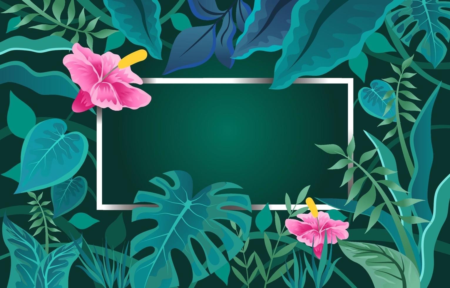 Blossom Tropical Plant with Green Background vector