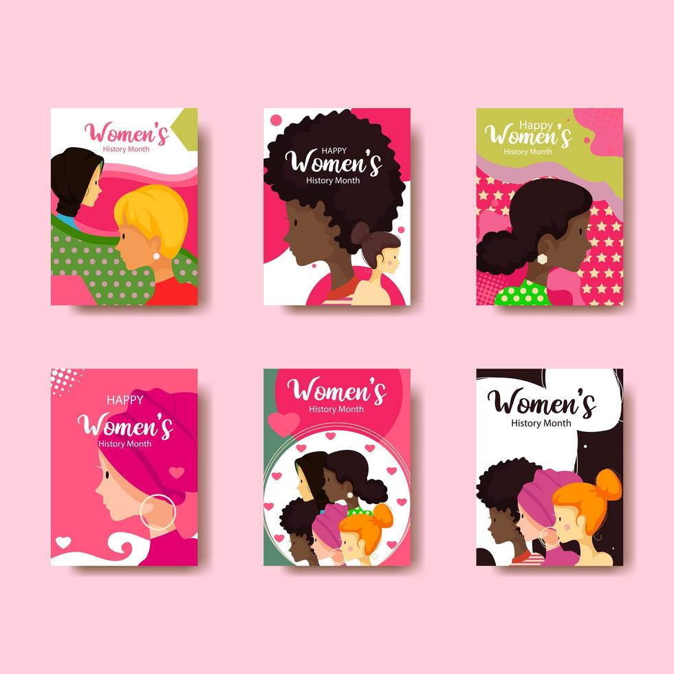 Woman History Month Card Collection vector
