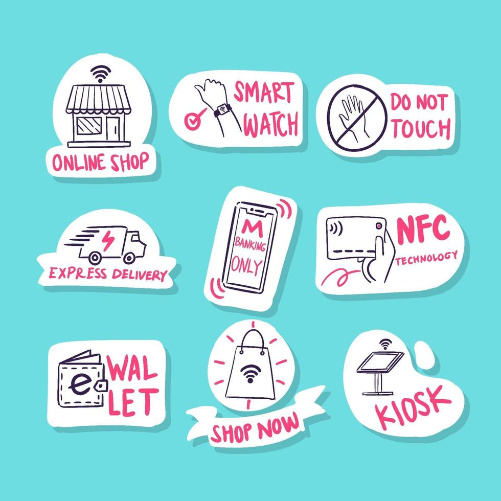 Doodle Sticker Set Representing Contactless Technology vector