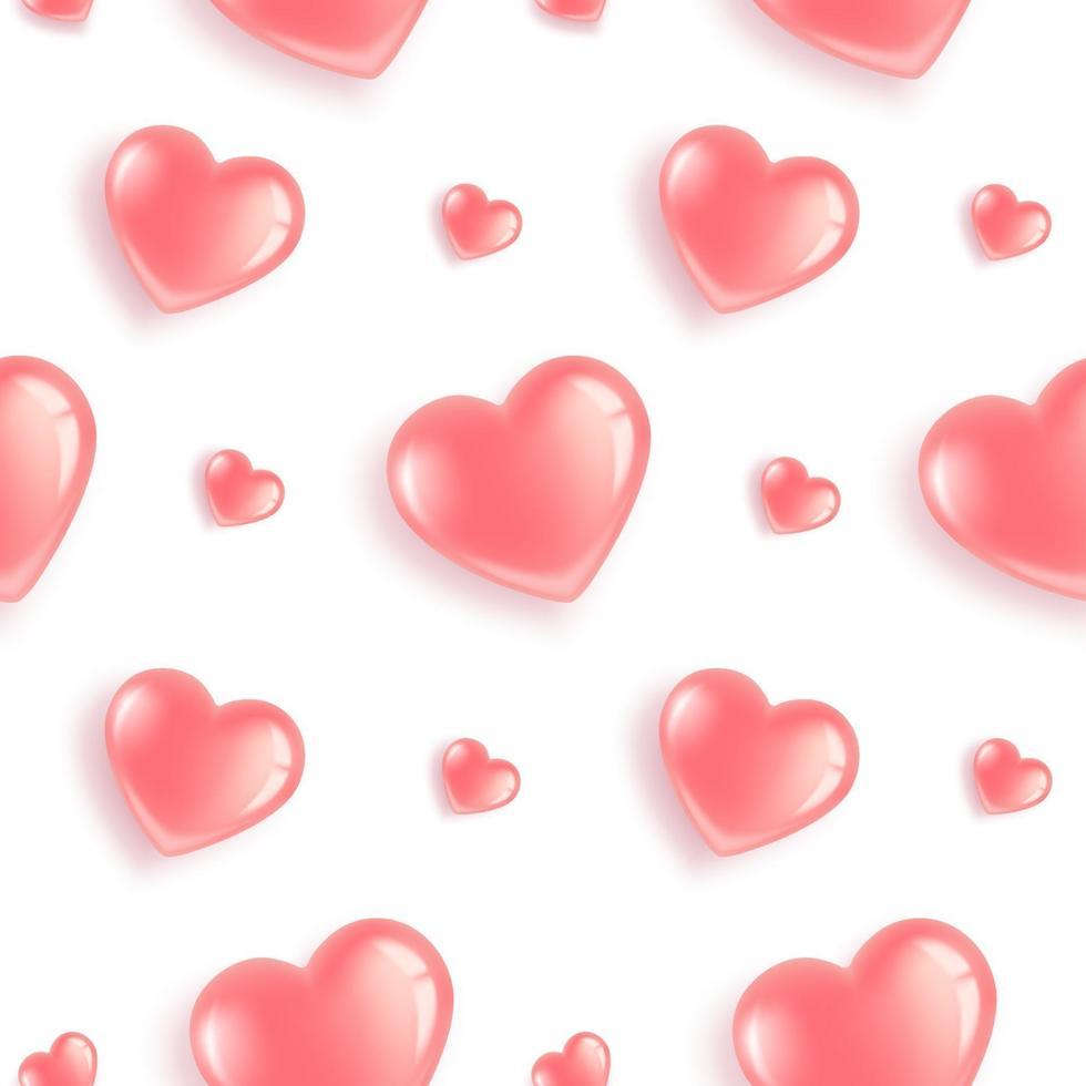 patrón de corazones rosa brillante vector