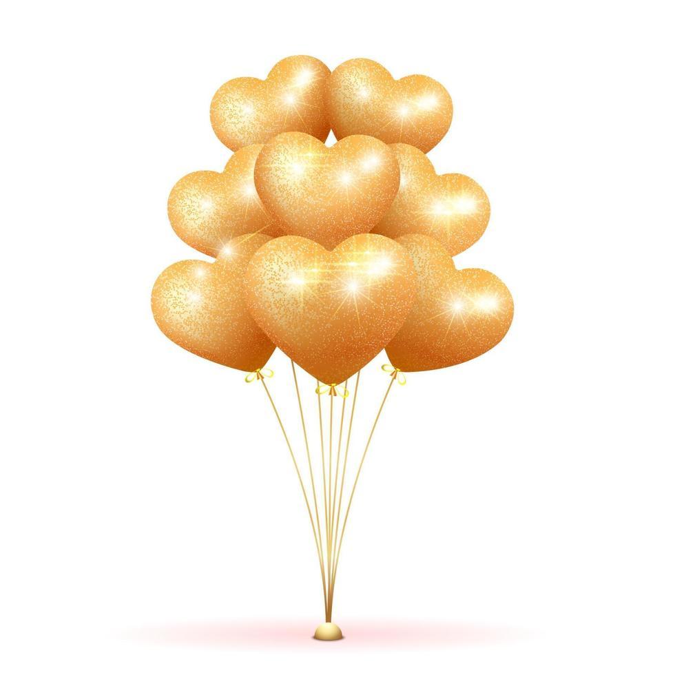 Golden bunch of balloons vector