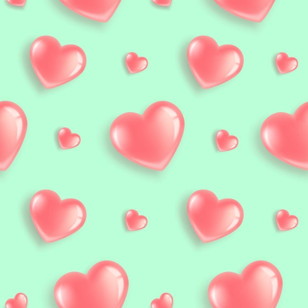 de patrones sin fisuras con globos rosados en forma de corazón. vector