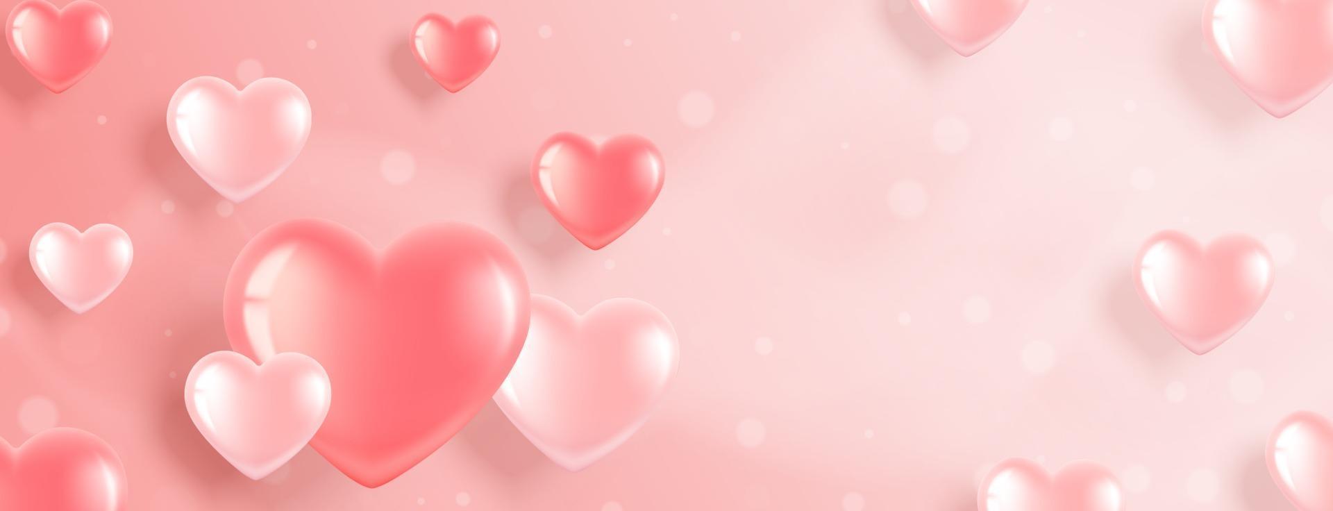 banner de san valentín con corazones rosas vector