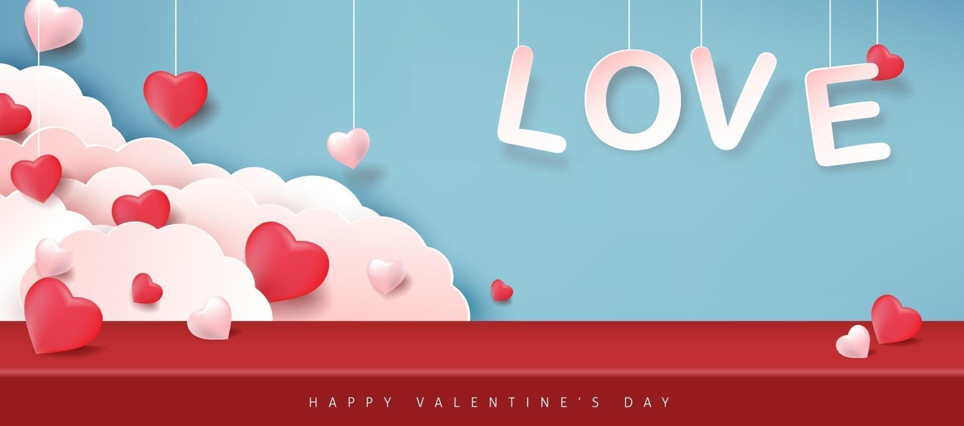 Valentine's day background with hanging love text, hearts and clouds vector