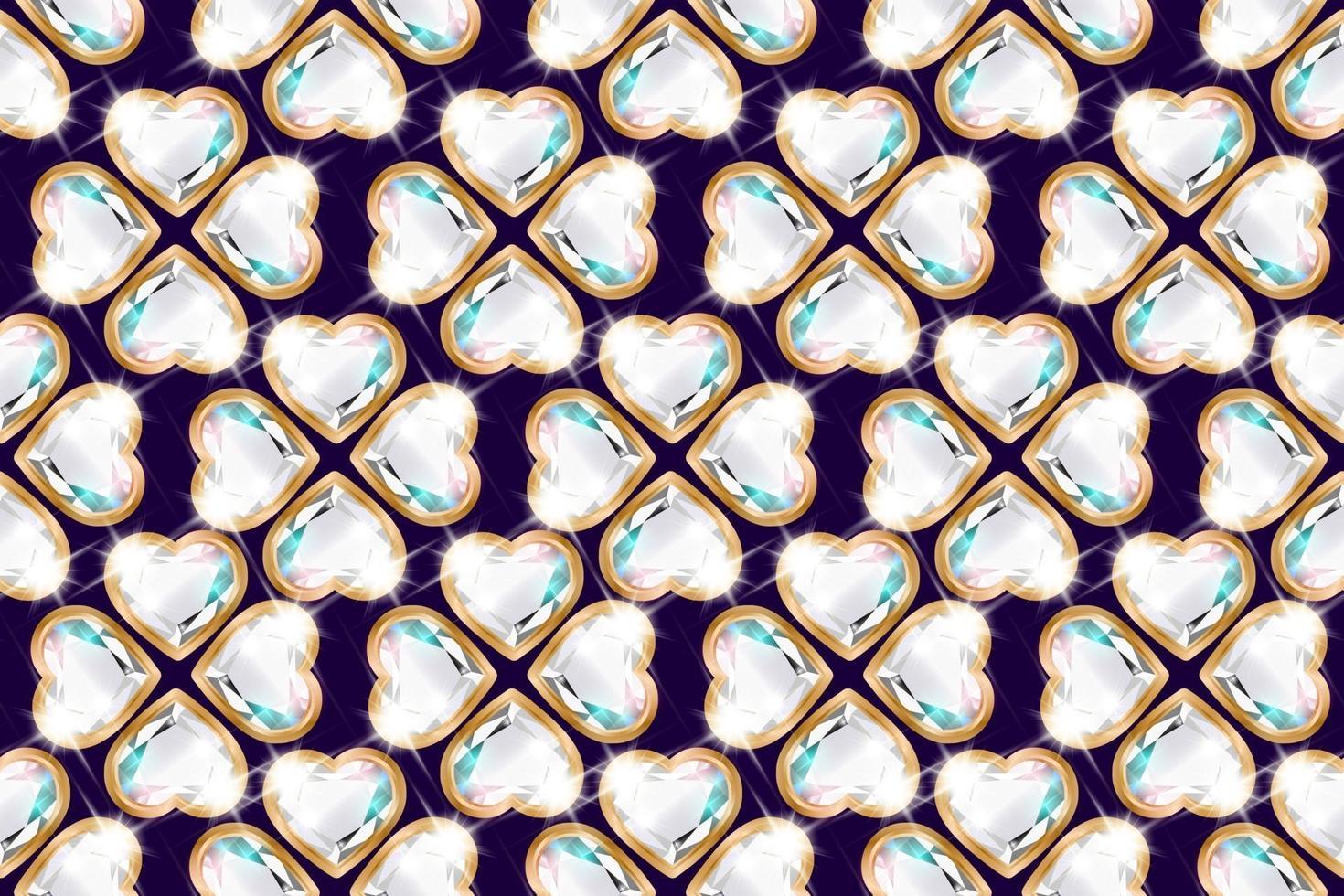 Heart shaped diamond flower pattern vector