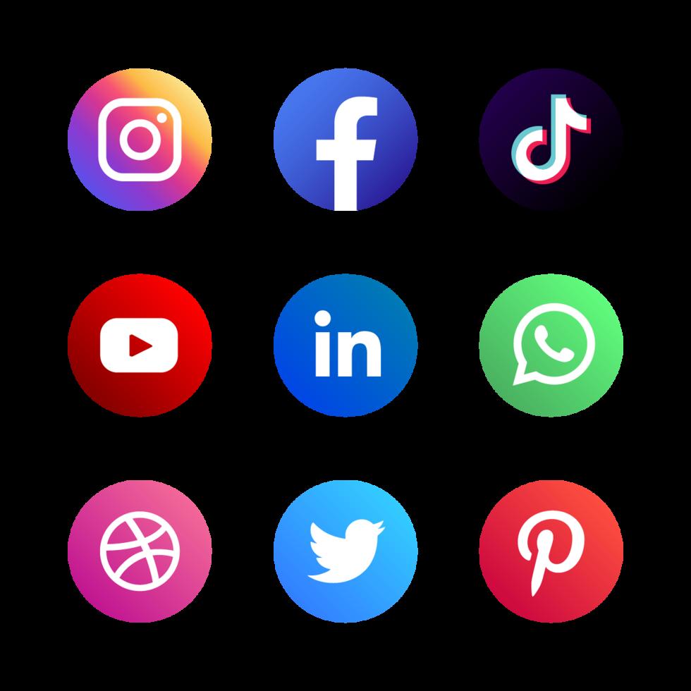 set of social media logo vector