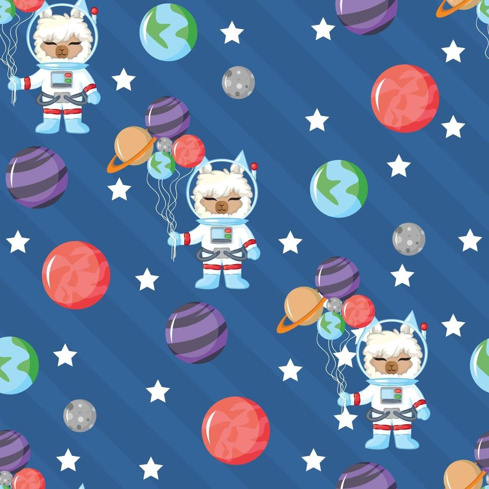 Cute llama astronaut in open space seamless pattern with planet vector