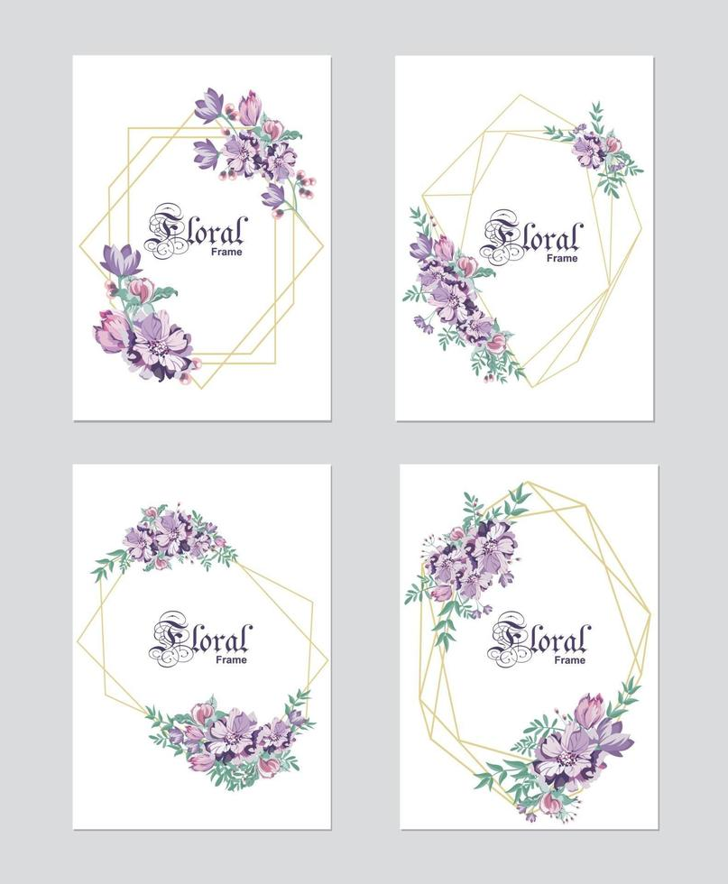 Wedding floral invitation, invite, save the date template. Vector elegant botanical card design with purple plants, cute wax flower green forest fern leaves with golden geometrical frame