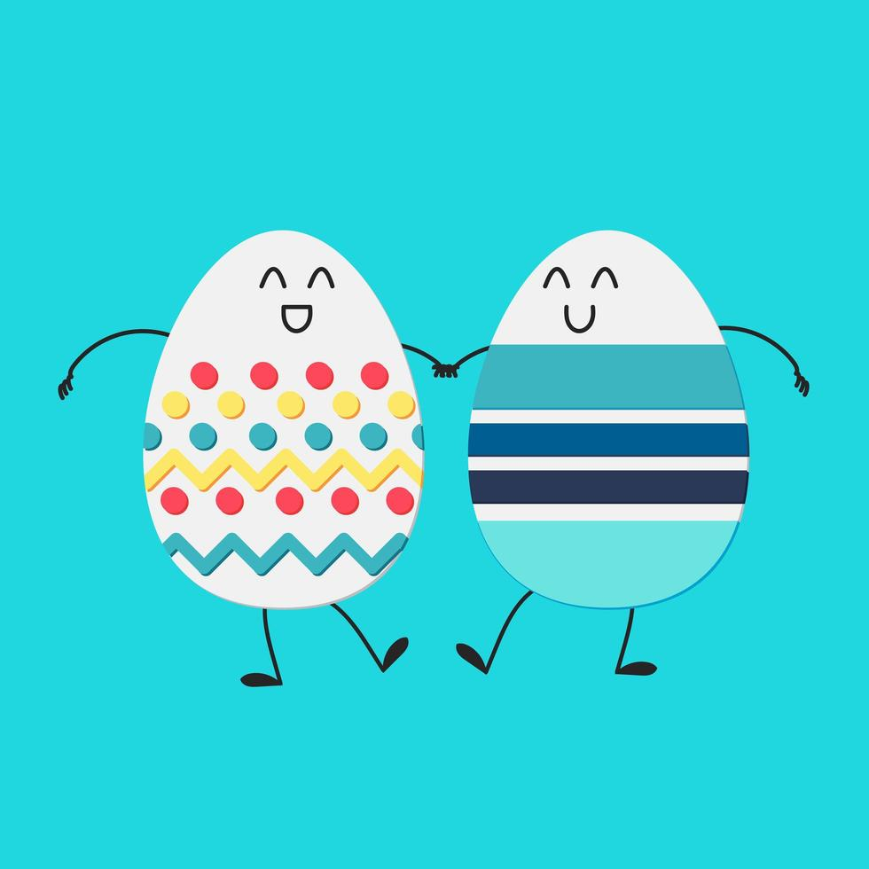 felices pascuas con huevos felices vector