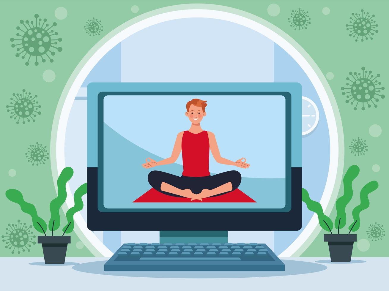 man practicing online yoga for quarantine vector