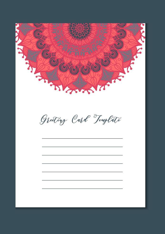 tarjeta de plantilla vintage mandala vector