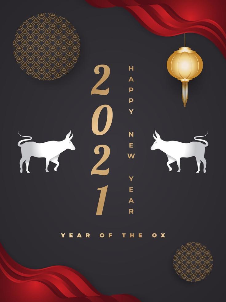 Happy Chinese New Year 2021 year of the ox. Chinese greeting card decorated with silver ox and gold lanterns on a dark background vector
