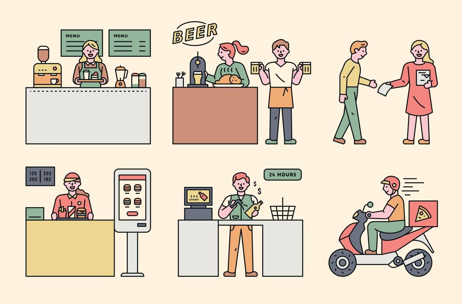 Part-time job workers characters. vector