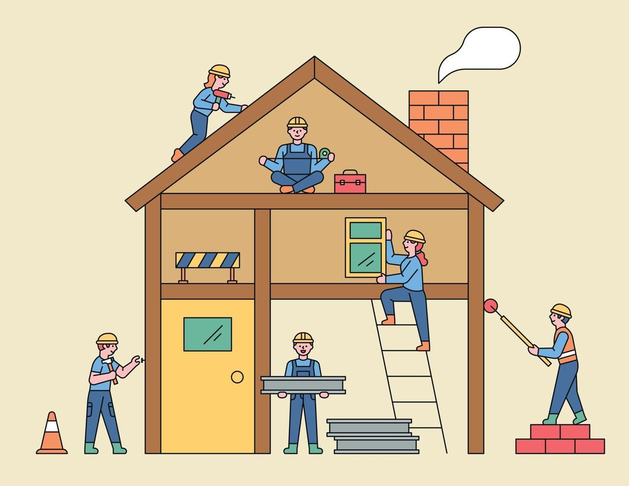 People at the construction site. Cute people are building houses around the section of the house. flat design style minimal vector illustration.