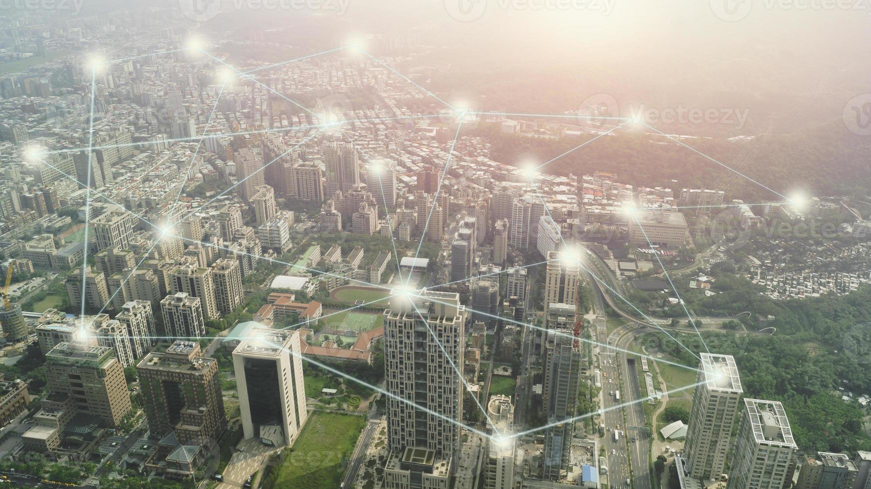 ciudad con concepto de línea de conexión. foto