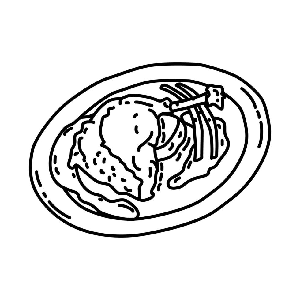 Confit de canard Icon. Doodle Hand Drawn or Outline Icon Style vector