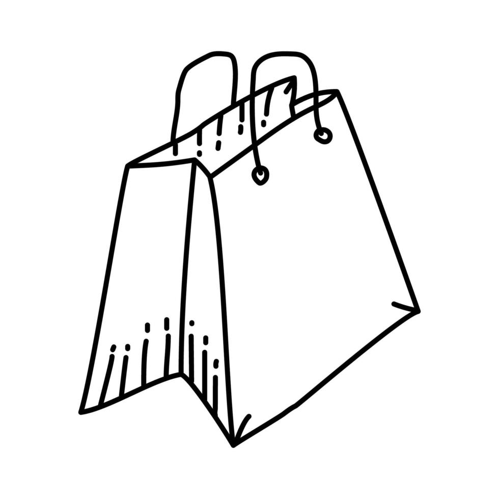 Shopping Bag Icon. Doodle Hand Drawn or Outline Icon Style vector
