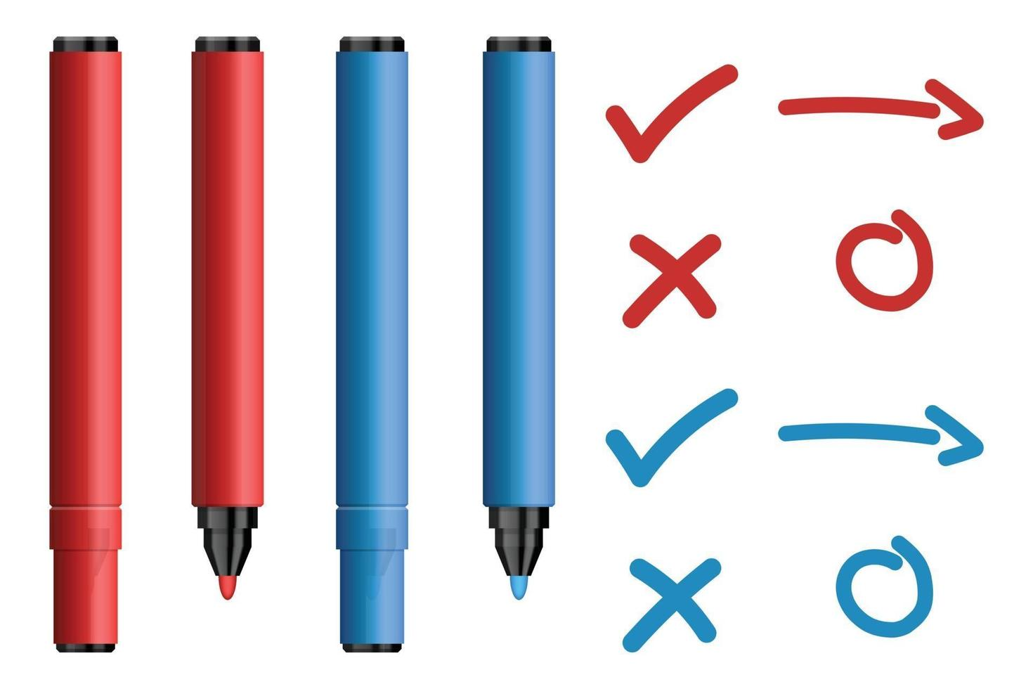 Red and blue marker pens with tick and cross sign set vector