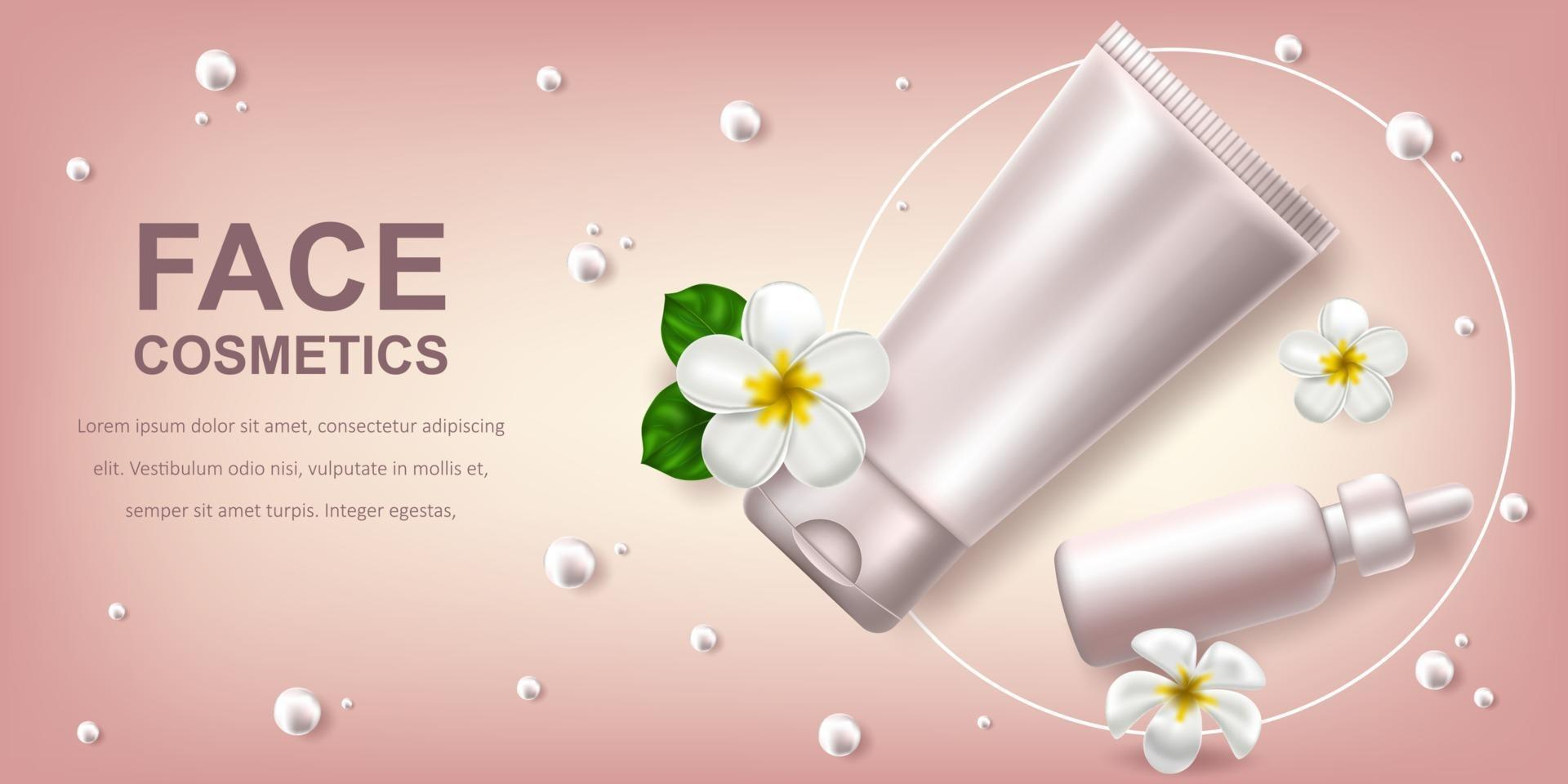 Vector realistic illustration with white blank of a bottle for serum and gel. Tropical Hawaiian flowers frangipani. Banner for advertising and promotion of cosmetic products. Use for posters, cards