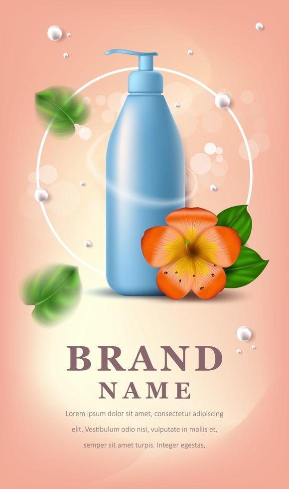 Vector realistic illustration with empty blue shampoo or gel bubbles. Tropical Hawaiian flower and green leaves. Banner for advertising and promotion of cosmetic products. Use for posters, cards