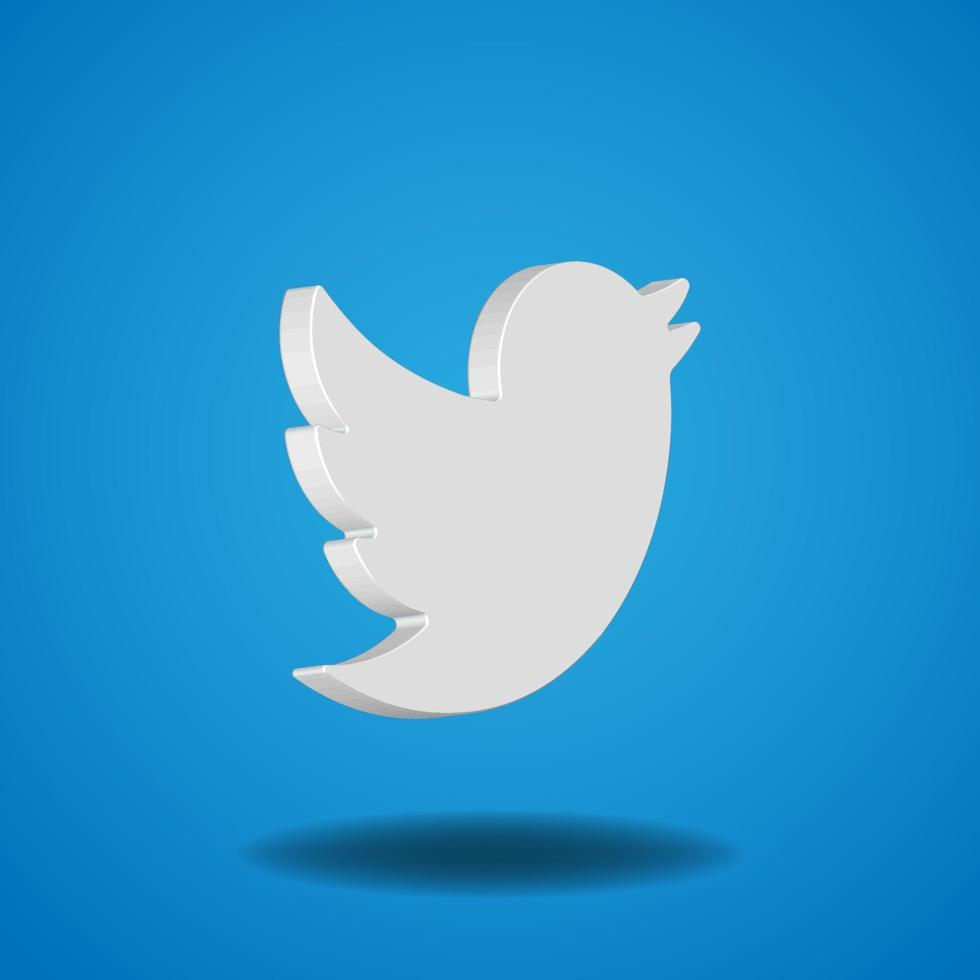 3D vector Twitter icon
