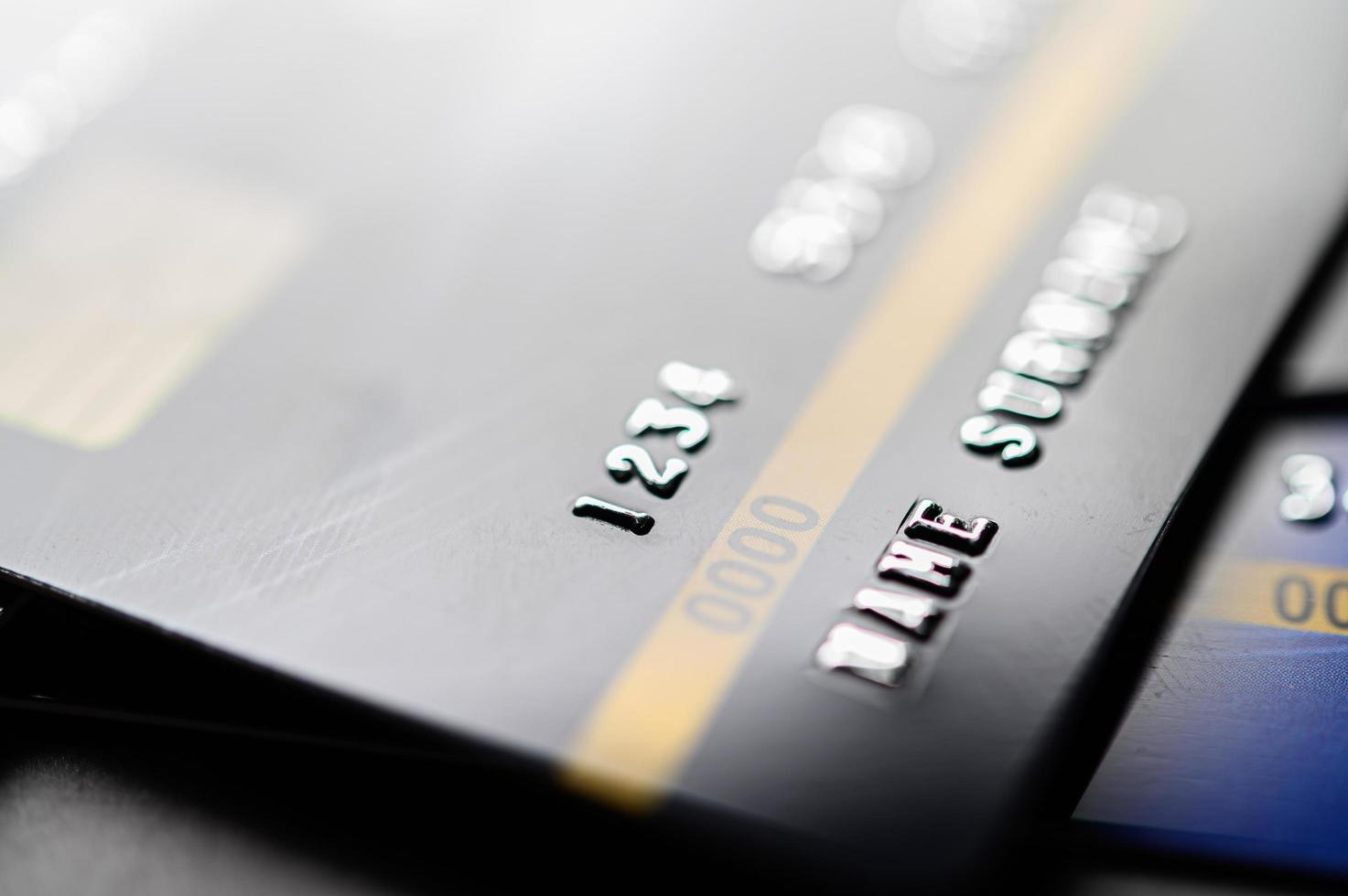 Credit cards stacked together photo