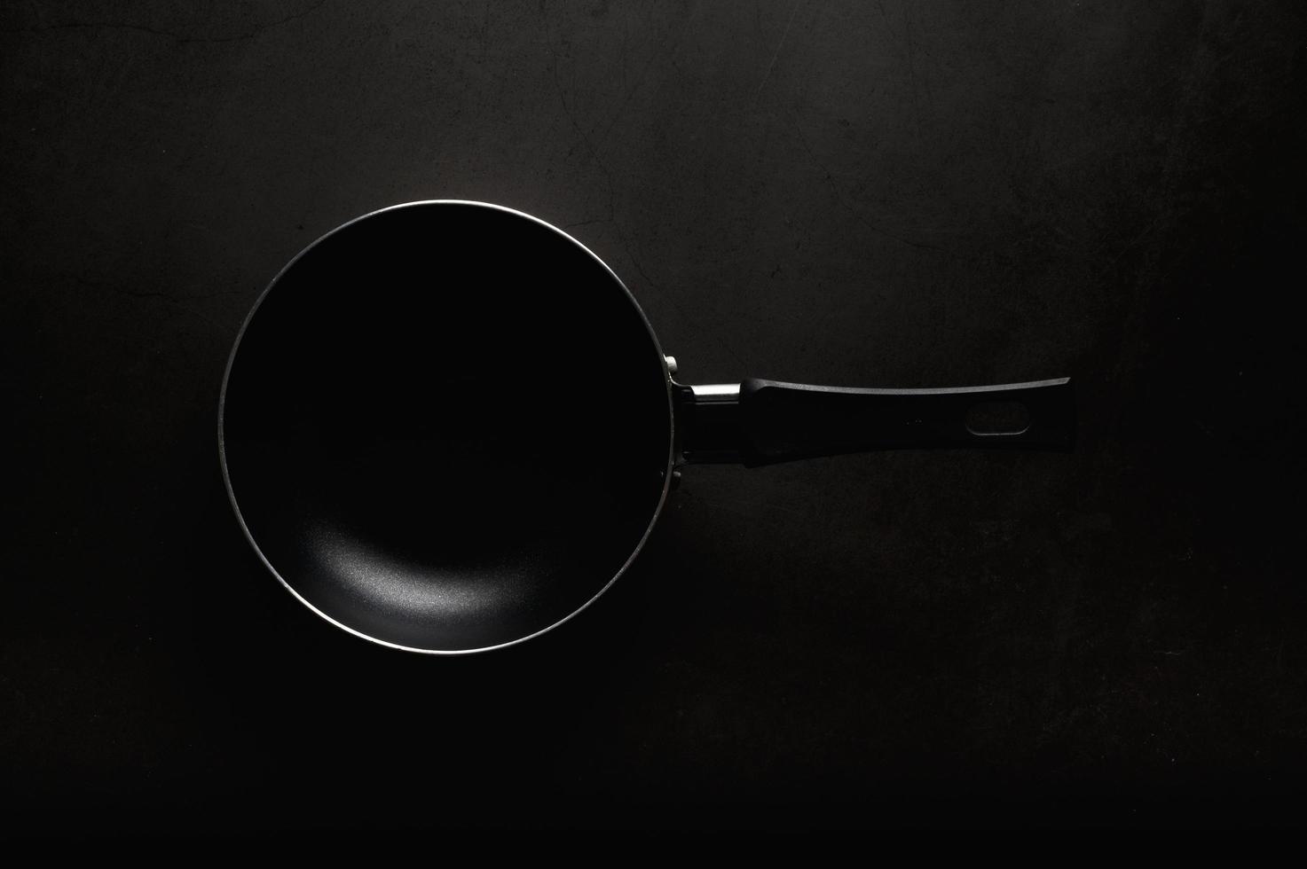 Black frying pan top view photo