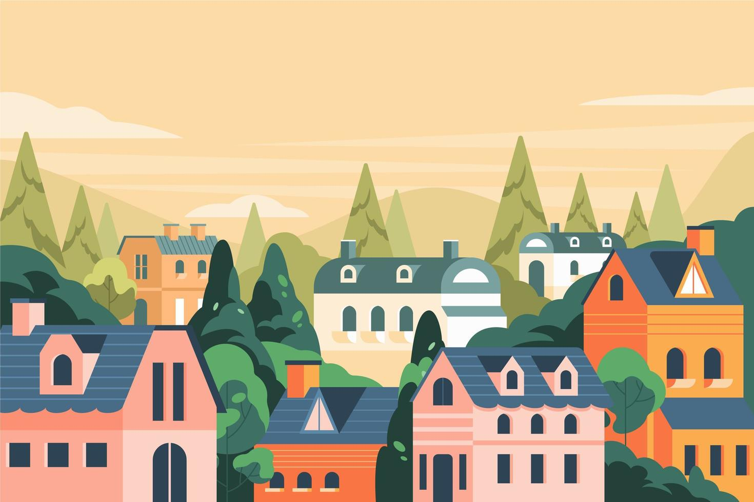 Flat House on The Hill Landscape Background vector