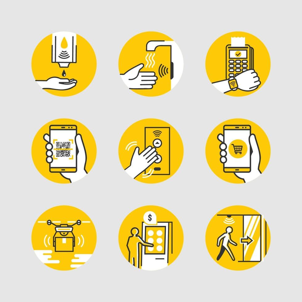 UNTACT Contactless Technology Icons vector