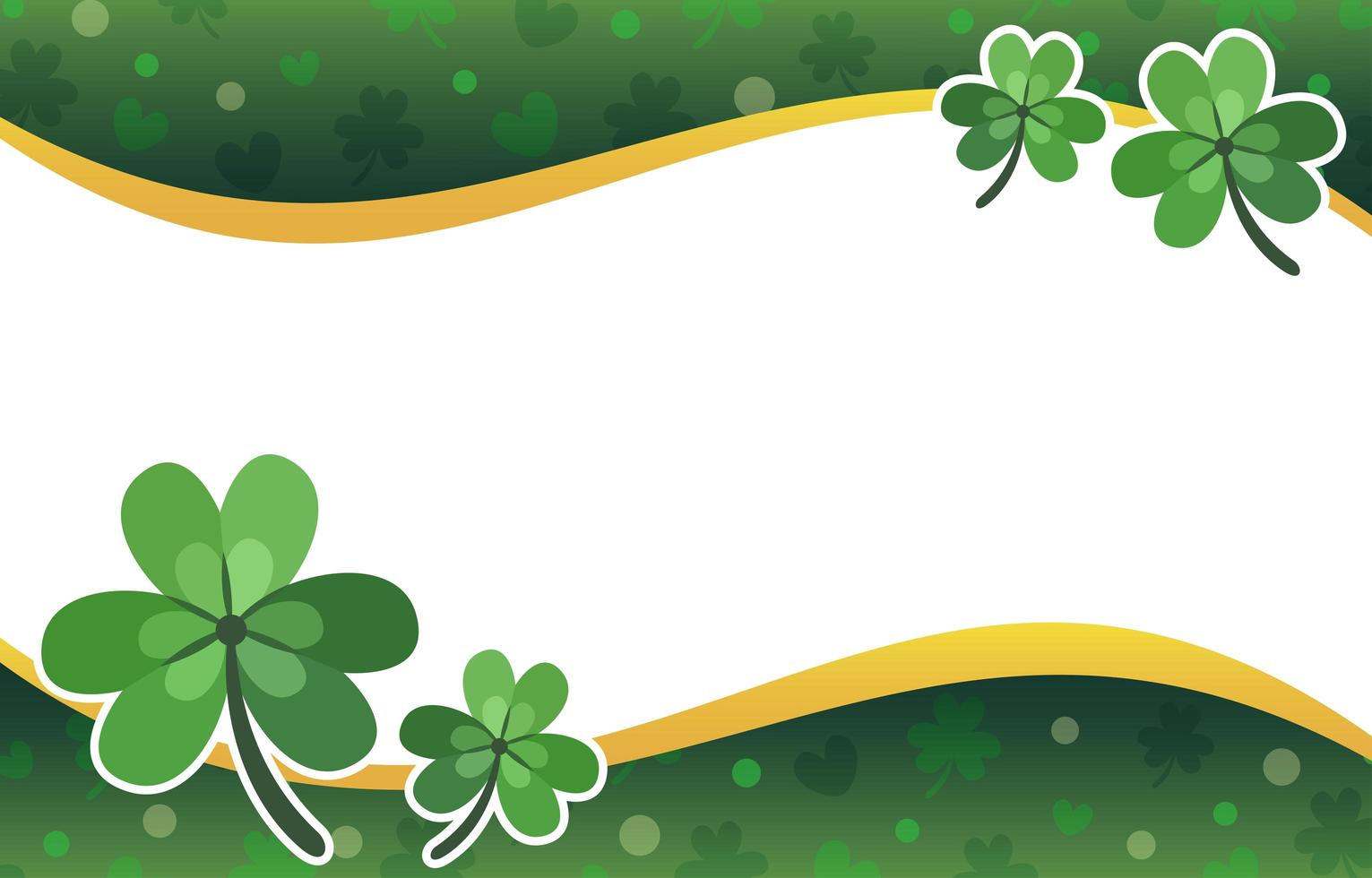 Flat Clover with Leaves Background vector