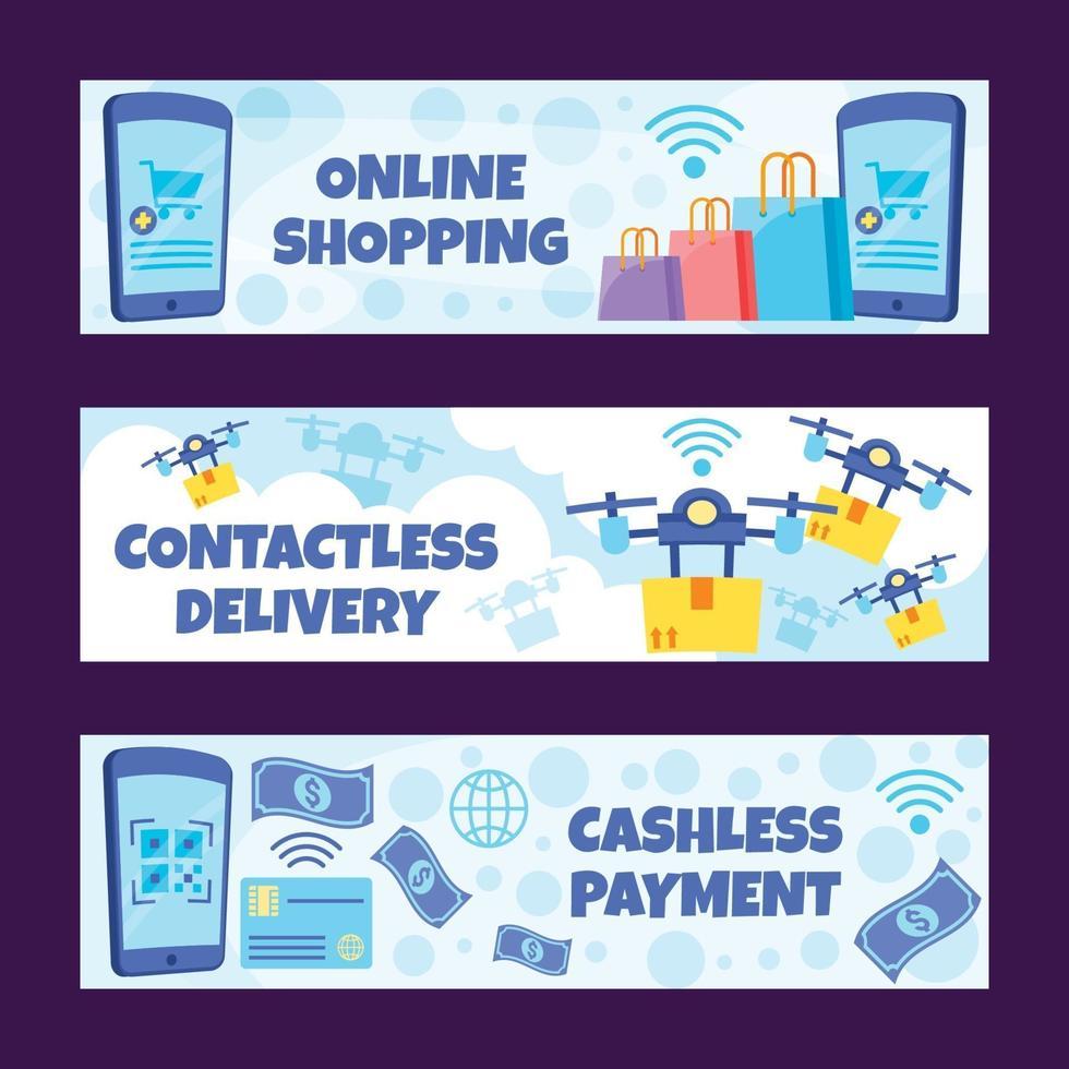 Online Shopping Contactless Technology Banner Set vector