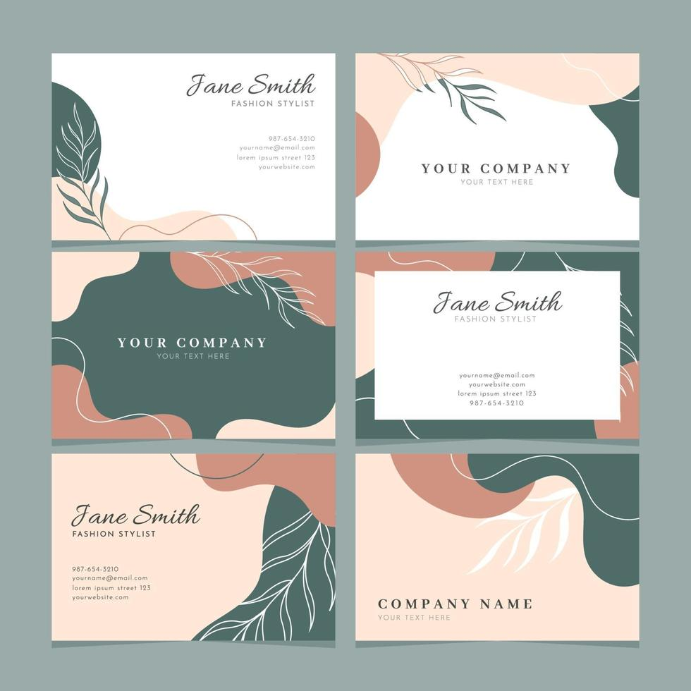 Beautiful Abstract Floral Business Card Collection vector