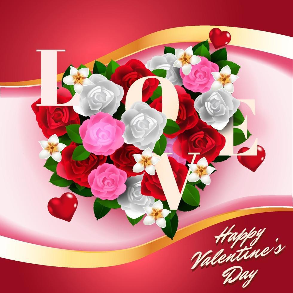 Valentine flower bouquet in heart shape illustration vector