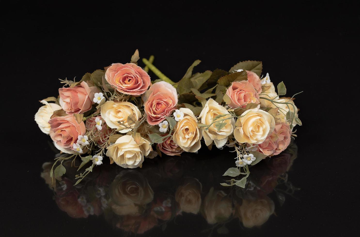 Decoration of vintage flowers on a black background photo