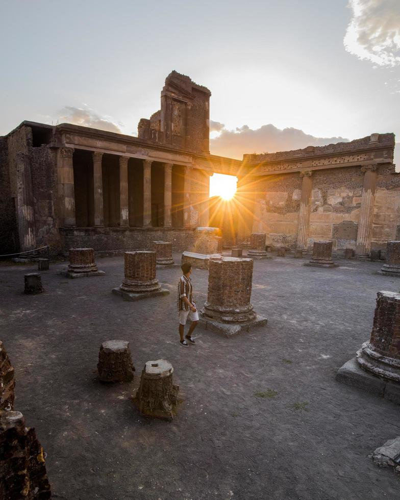 Sunset at the ruins of Pompeii, Italy photo