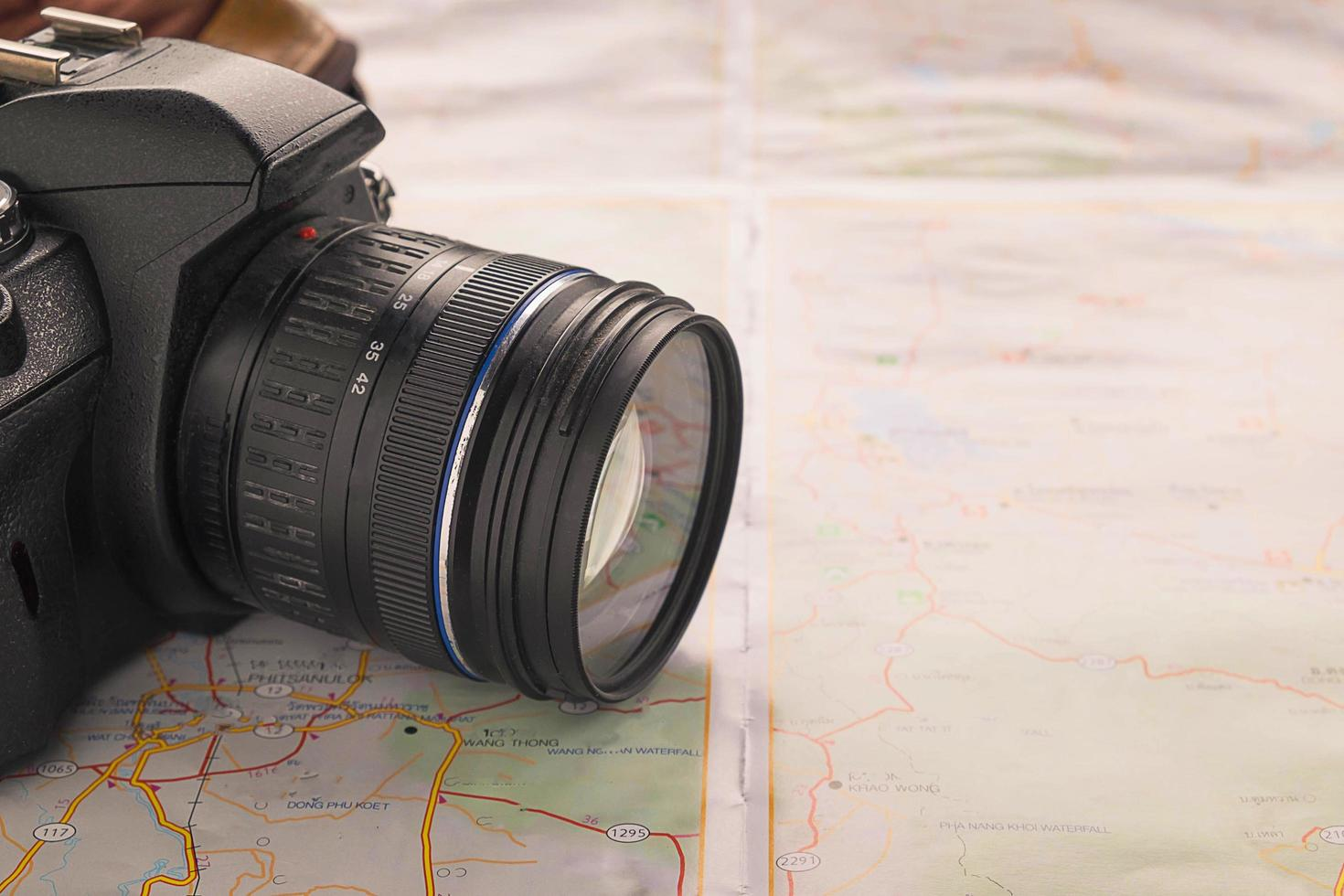 Camera on a map photo