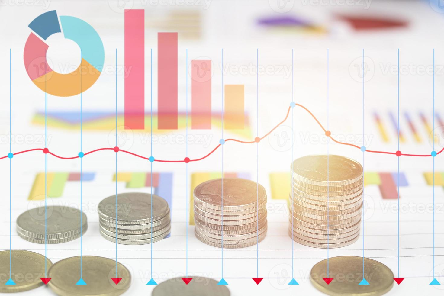 Coins with graph overlay photo