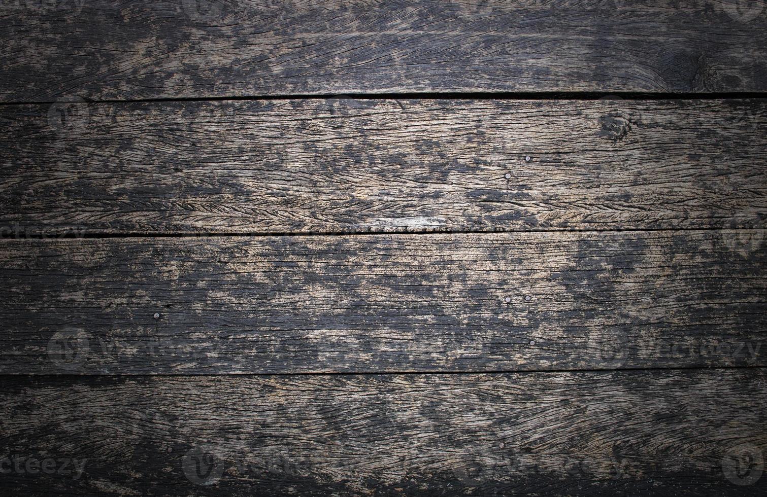 grunge y vintage antiguo fondo de madera oscura foto