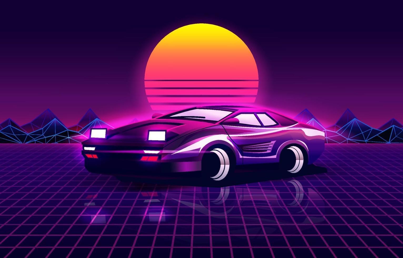Fondo retro futurista con coche deportivo estilo años 80. vector