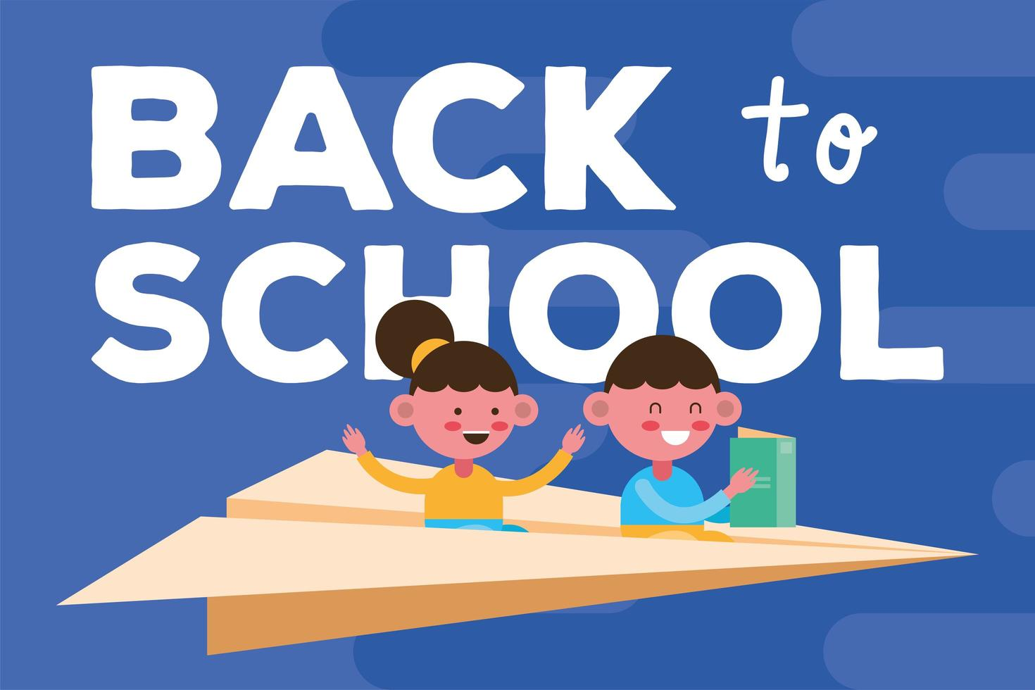Back to school banner with students flying on a paper plane vector