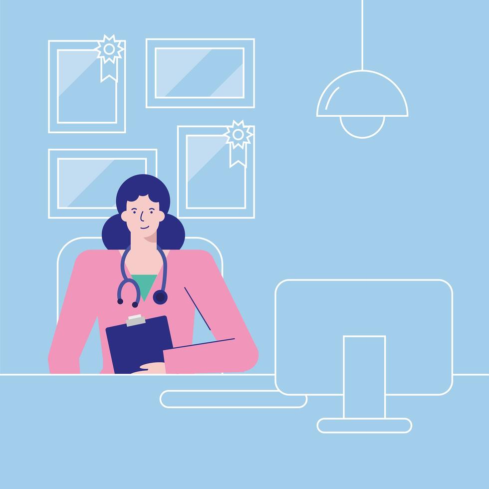 Doctor character in the office vector