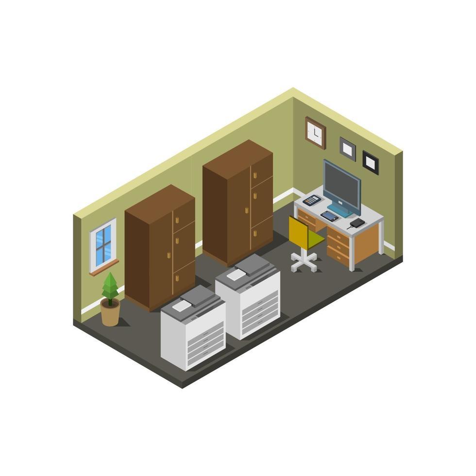sala de oficina isométrica sobre fondo blanco vector